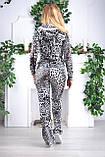 """Жіночий спортивний велюровий костюм """"Eze,"""" леопард принт троянди, розм з 42 по 54, фото 4"""