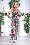 """Жіночий спортивний велюровий костюм """"Eze,"""" леопард принт троянди, розм з 42 по 54, фото 5"""