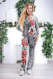 """Жіночий спортивний велюровий костюм """"Eze,"""" леопард принт троянди, розм з 42 по 54, фото 7"""