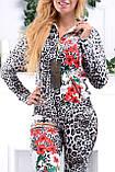 """Жіночий спортивний велюровий костюм """"Eze,"""" леопард принт троянди, розм з 42 по 54, фото 8"""