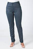 Женские брюки на манжетах из итальянского трикотажа серые в клетку
