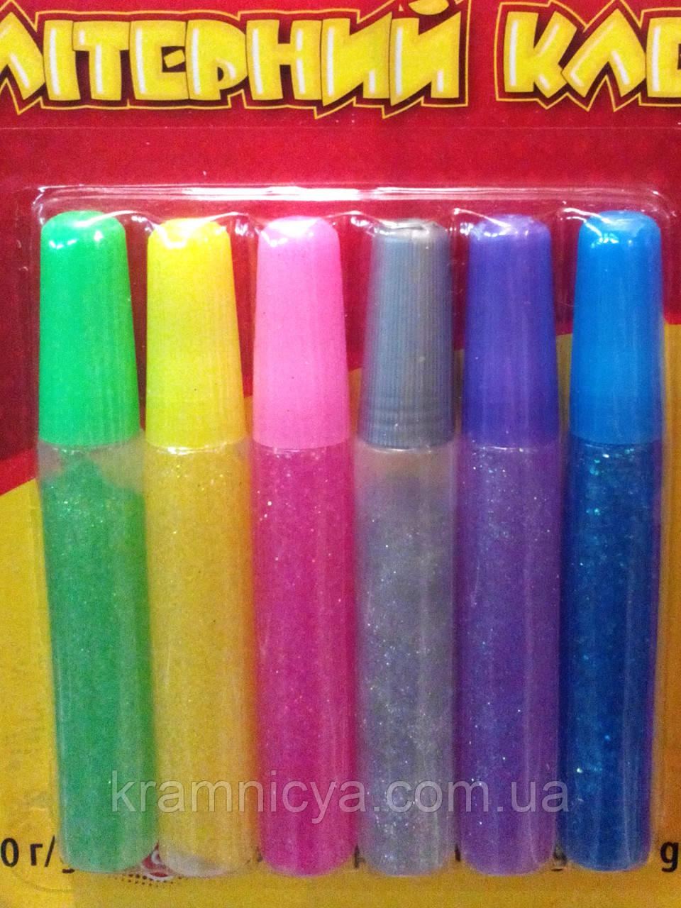 Глиттерный клей с блестками, 6 цветов, 10 мл.