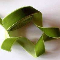 Лента бархатная 1 см, оливковая