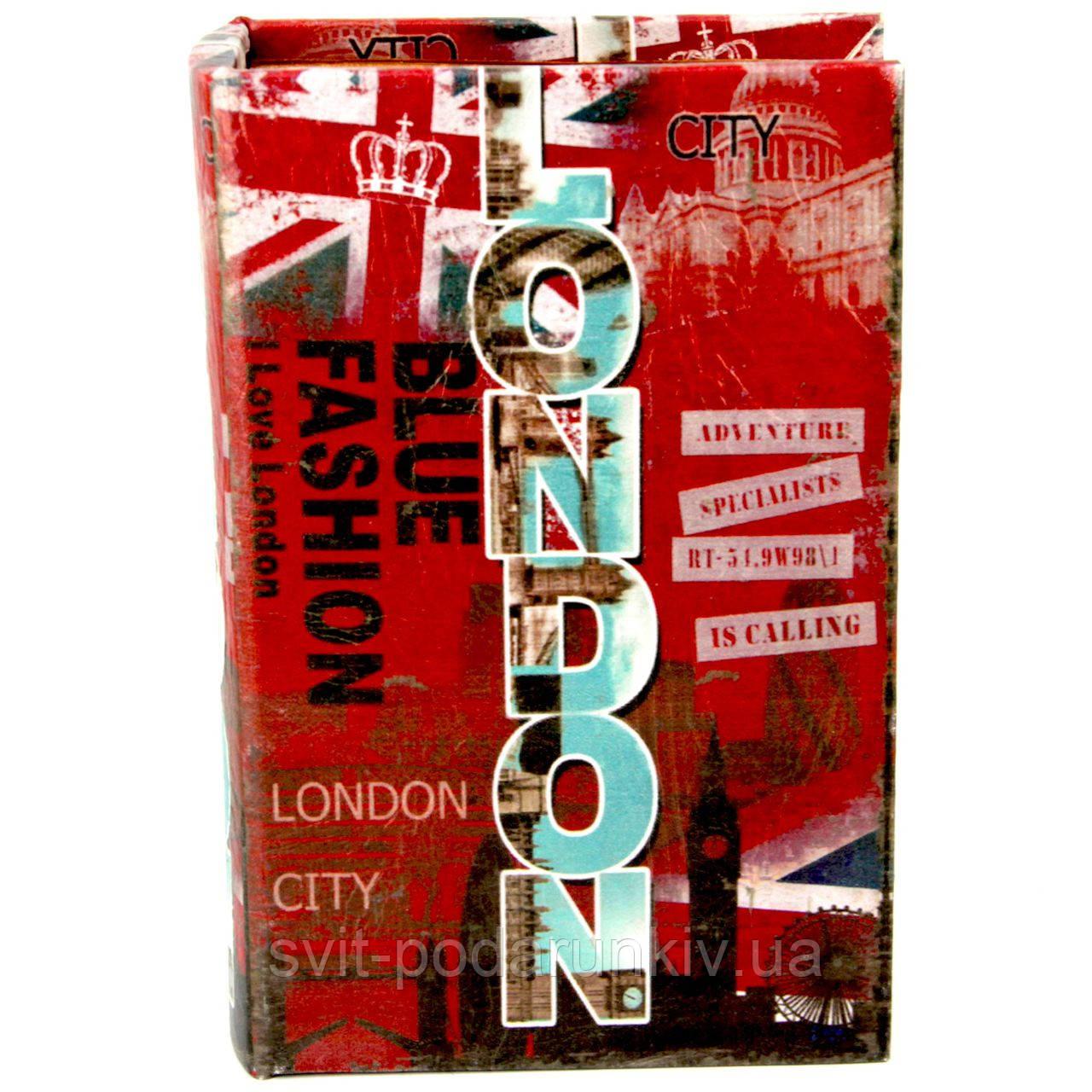 "Шкатулка книга средняя ""London"" красная"