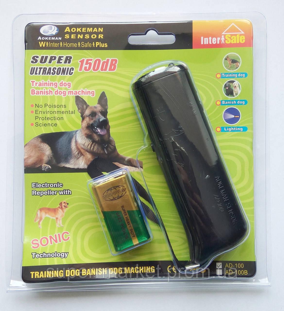 Ультразвуковой отпугиватель собак Sonic AD-100 дресировка  CD-100  с фонариком