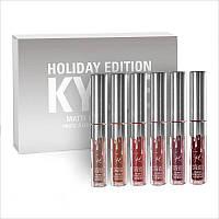 Набор помады Kylie Birthday Edition 6 цветов ( silver), Жидкая матовая помада kylie, Набор помад Kylie