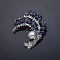 Брошь Верба синие камни