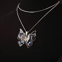Подвеска на цепочке с кристаллами Бабочка синий камень сильвер