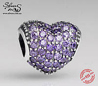 """Серебряная подвеска-шарм Пандора (Pandora) """"Фиолетовое сердце паве"""" для браслета"""