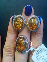 Серебряное кольцо  0060 с янтарем