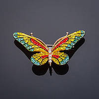 Брошь Бабочка матовая эмаль желто-красная