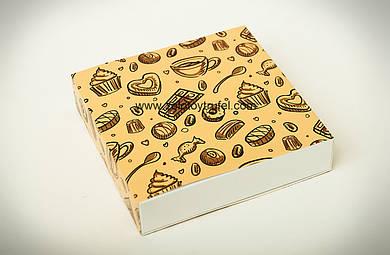 """Картонная коробка для конфет и макаронс """"Кремовая 18,5*18,5*4,2 см"""""""