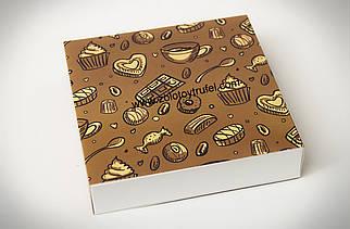 """Картонная коробка для конфет и макаронс """"Коричневая 18,5*18,5*4,2 см"""""""