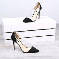 Туфли женские лодочки на шпильке Vices Glass черные