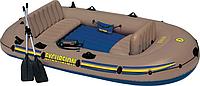 Надувная 4-х местная лодка Excursion 4 Set интекс 68324,2 алюминиевых весла; ручной насос