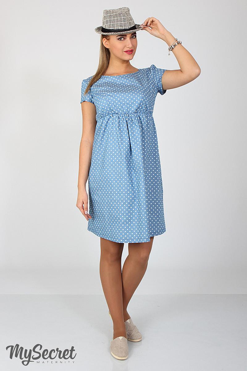 Джинсовое платье для беременных и кормящих Celena DR-27.034, сердечки на светлом джинсе