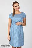Джинсовое платье для беременных и кормящих Celena DR-27.034, сердечки на светлом джинсе, фото 2