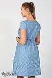 Джинсовое платье для беременных и кормящих Celena DR-27.034, сердечки на светлом джинсе, фото 5