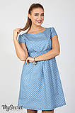 Джинсовое платье для беременных и кормящих Celena DR-27.034, сердечки на светлом джинсе, фото 6