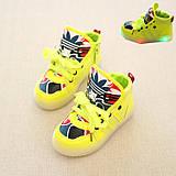 Детские кроссовки светящиеся салатовые