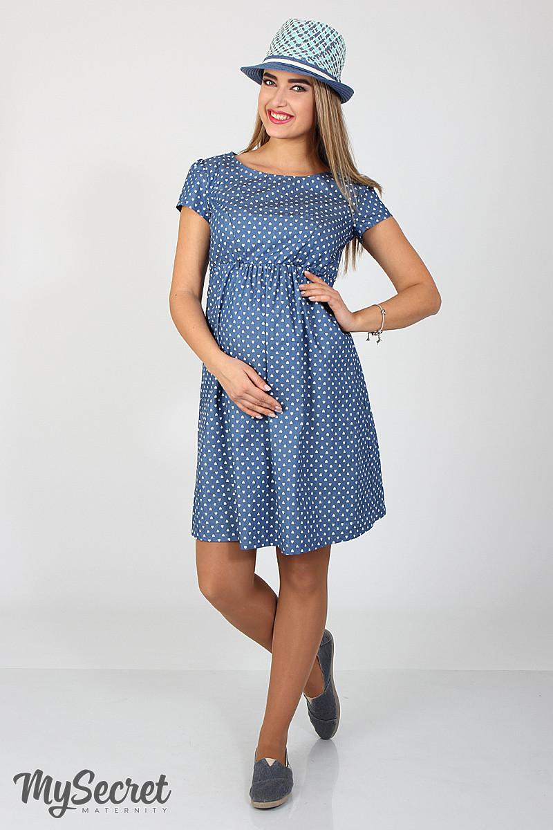 Джинсовое платье для беременных и кормящих Celena DR-27.032, сердечки на темном джинсе