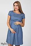 Джинсовое платье для беременных и кормящих Celena DR-27.032, сердечки на темном джинсе, фото 2