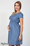 Джинсовое платье для беременных и кормящих Celena DR-27.032, сердечки на темном джинсе, фото 4
