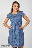 Джинсовое платье для беременных и кормящих Celena DR-27.032, сердечки на темном джинсе, фото 6