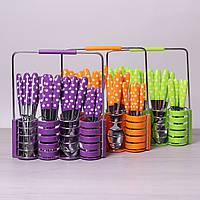Набор столовых приборов Kamille 24 пр. из нержавеющей стали с пластиковыми ручками и подставкой