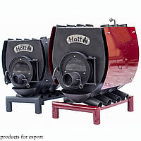 Отопительно-варочная печь булерьян Hott  со стеклом и перфорацией  Тип-02 -400 м3