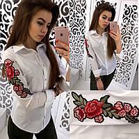 Женская модная рубашка с вышивкой  хлопок