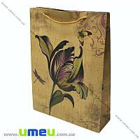 Подарочный пакет из крафт бумаги, 33х24х8 см, Цветок, 1 шт (UPK-019042)