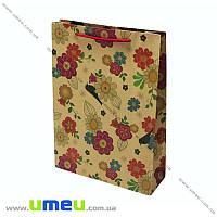 Подарочный пакет из крафт бумаги, 24,5х19х8 см, Цветы, 1 шт (UPK-019039)