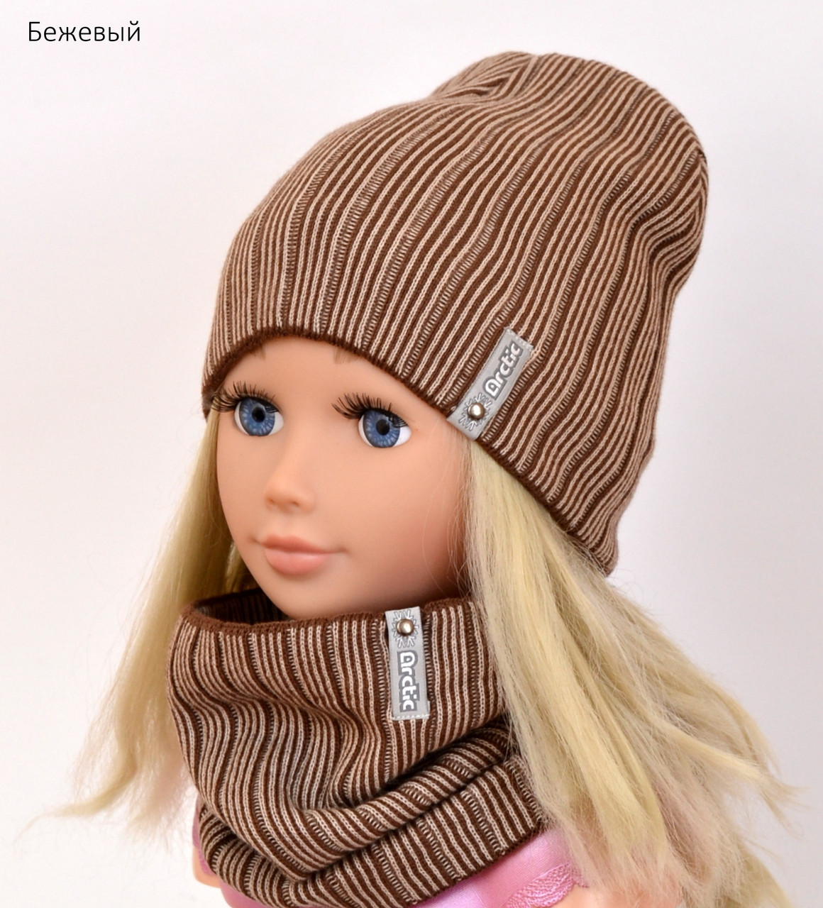 Комплект шапка и шарф Вертикаль размер 50 (осенняя тонкая)