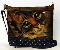 Женская джинсовая стеганная сумочка Котик, фото 1