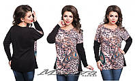 Женская кофта-туника леопардового принта батал