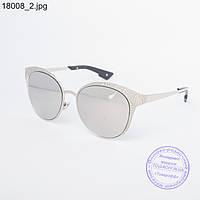 Оптом женские модные очки с зеркальным стеклом - Серебристые - 18008