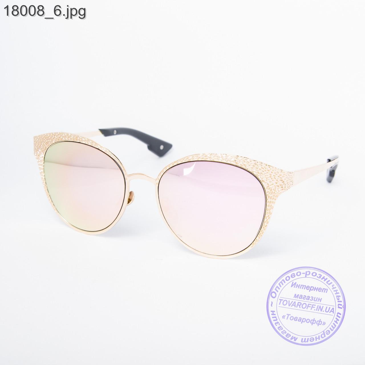 Оптом женские модные очки с зеркальным стеклом - Золотистые - 18008