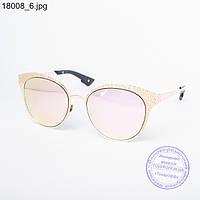 Оптом женские модные очки с зеркальным стеклом - Золотистые - 18008, фото 1