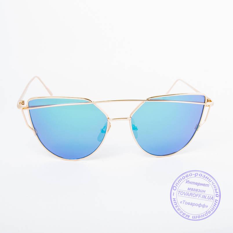 Оптом женские солнцезащитные очки золотистые - 9013 нет, 3, Металл, Зеркальное, Женский, Поликарбонатные, Золотистый, Синий, фото 2
