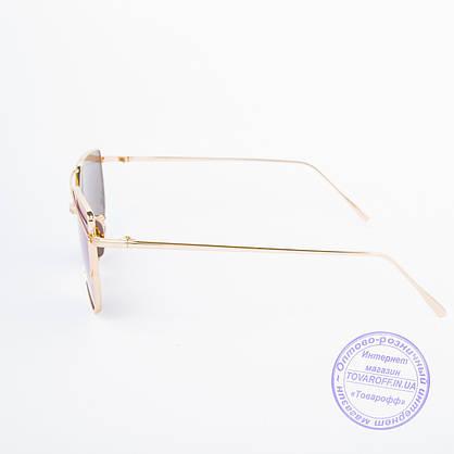 Оптом женские солнцезащитные очки золотистые - 9013 нет, 3, Металл, Зеркальное, Женский, Поликарбонатные, Золотистый, Синий, фото 3