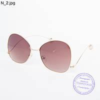 Оптом женские солнцезащитные очки золотистые - 353