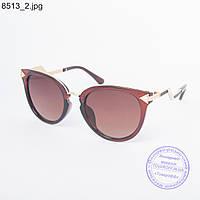 Оптом женские солнцезащитные очки коричневые - 8513
