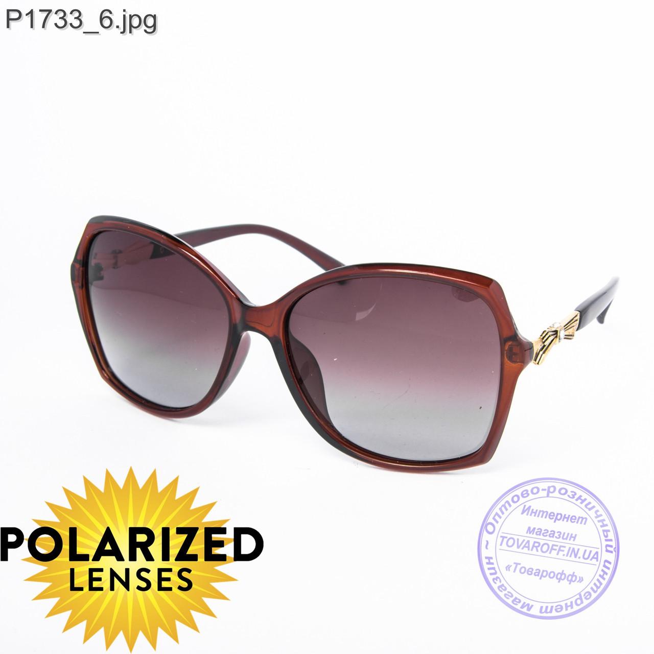 Оптом поляризационные женские солнцезащитные очки коричневые - P1733