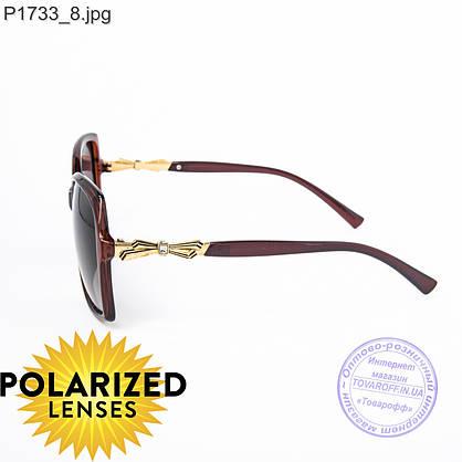 Оптом поляризационные женские солнцезащитные очки коричневые - P1733, фото 3