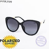 Оптом поляризационные женские солнцезащитные очки черные - P1728