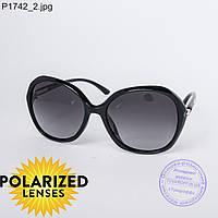 Оптом поляризационные женские солнцезащитные очки черные - P1742
