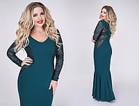 Нарядное платье в пол с рукавами и вставками из гипюра. Большие размеры. Разные цвета.