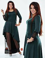 Вечернее платье в пол из французского трикотажа с кружевом. Большие размеры. Разные цвета.