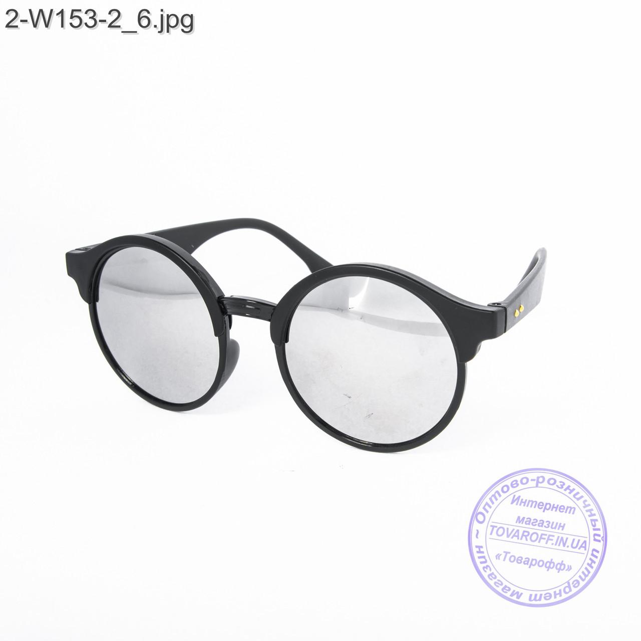 Оптом солнцезащитные очки унисекс - черные зеркальные -2-W153-2